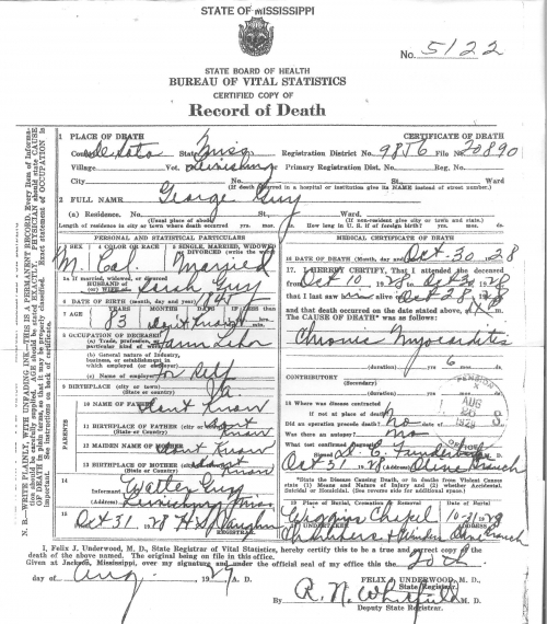 George Guy's Death Certificate